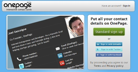 tarjetas presentacion online Crear tarjetas de presentación online con Onepage