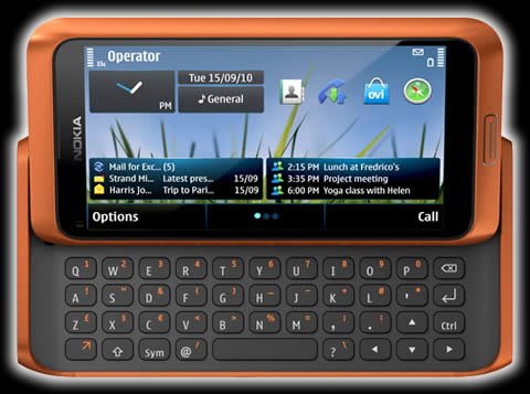 Nokia E7 naranja Nokia E7, Nokia C6 y Nokia C7