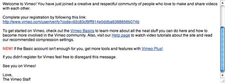 confirmacion vimeo Crear una cuenta en Vimeo