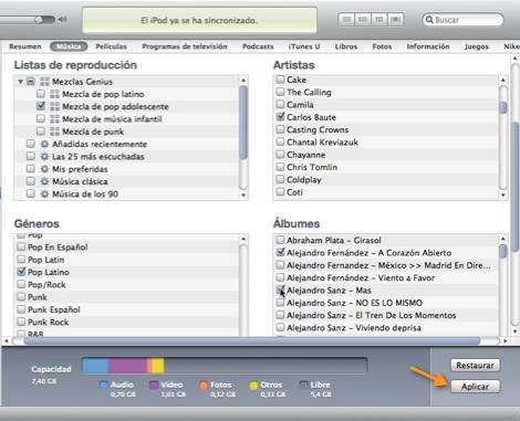 itunes sincronizar albumes artistas listas Como sincronizar música específica en tu iPod