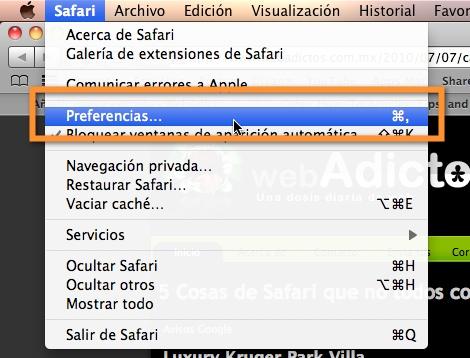 Como borrar el historial de navegación de Safari - preferencias-safari