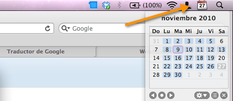 2010 11 27 18 00 03 Mostrar un calendario desplegable en la barra de menús de Mac OSX