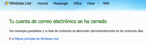 hotmail desactivado Desactivar tu cuenta de Hotmail