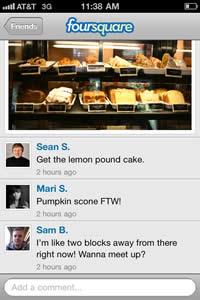 Foursquare ahora acepta fotos y comentarios - foursquare-iphone