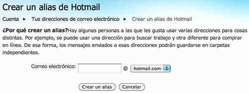 alias correo hotmail Crear alias de correo hotmail