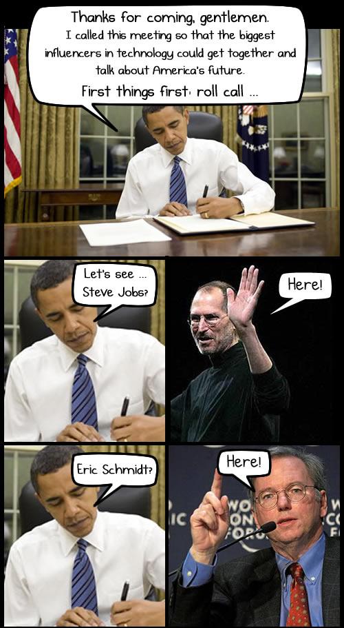 Lo que se habló en la reunión de Obama con los líderes en tecnología [Comic] - comic-obama-jobs-schmidt