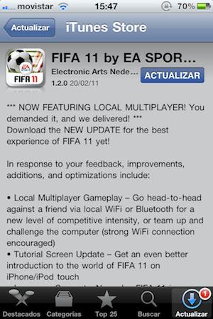 FIFA 11 para iPhone se actualiza y ahora tiene multijugador local - la-foto