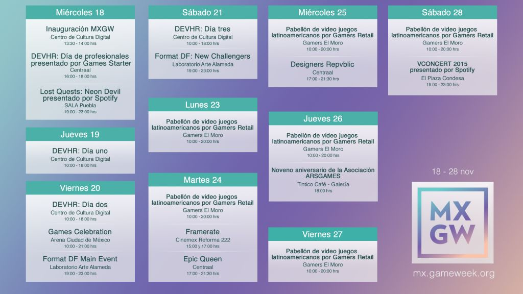 Hoy inicia México City Game week - cronograma_mxgw