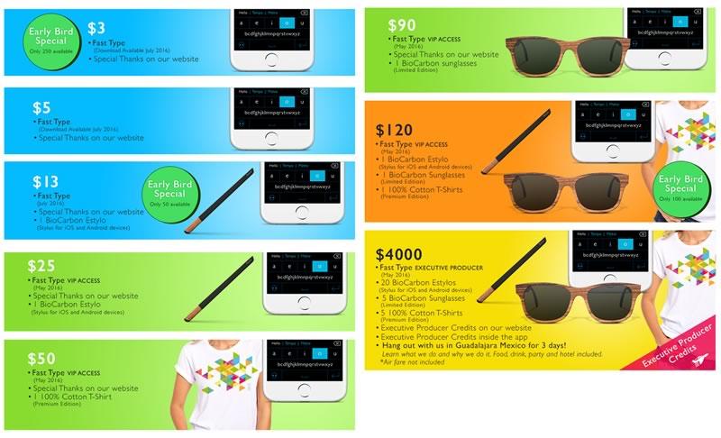 Fast Type para iPhone lanza campaña de fondeo en Kickstarter - recompensas-fasttype-iphone-kickstarter