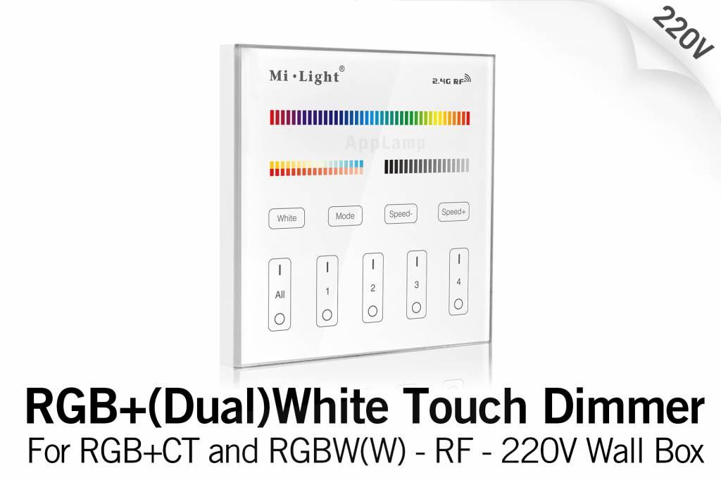 Mi·Light MiLight RGB+ DualWhite (RGB+CT) Touch Inbouw wandbediening, 4-zones, RF