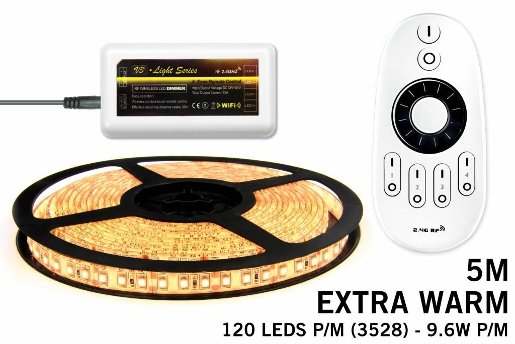 Mi·Light LED strip set Extra Warm Wit 600 leds - 48W 12V 5M, RF dimbaar