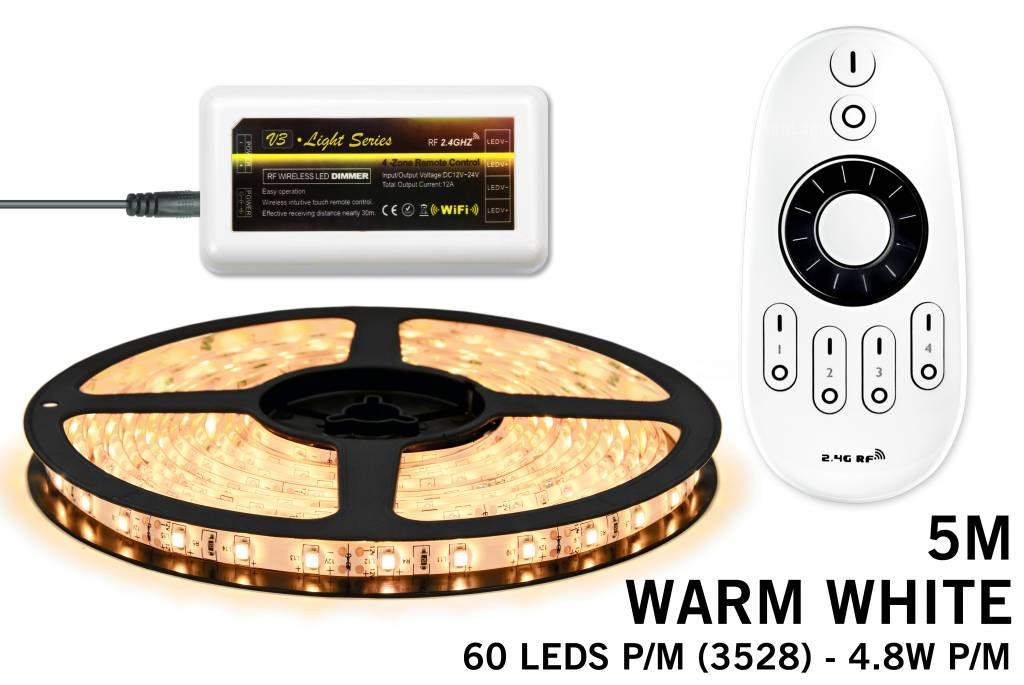 Mi·Light LED strip set, RF dimbaar, warm wit, 5 m. 300 leds type 3528 - 24W - 12