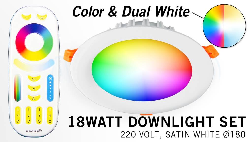 Mi·Light Mi-Light 18Watt RGBWW Kleur + Dual White LED Inbouwspot 220V + Afstandb