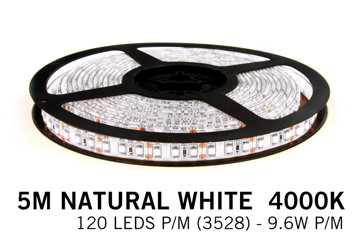 Neutraal Wit Led Strip | 5m 120 Leds pm Type 2835 12V Losse Strip