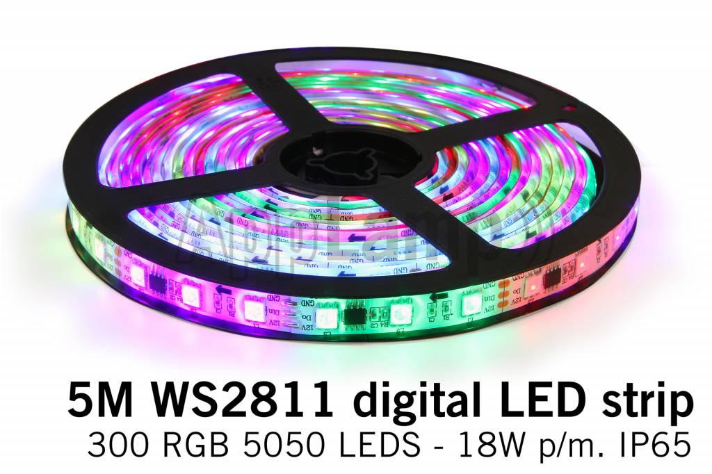 Dream Color WS2811 RGB Digital LED strip 5 meter, 60 leds p.m. type 5050 12V IP6