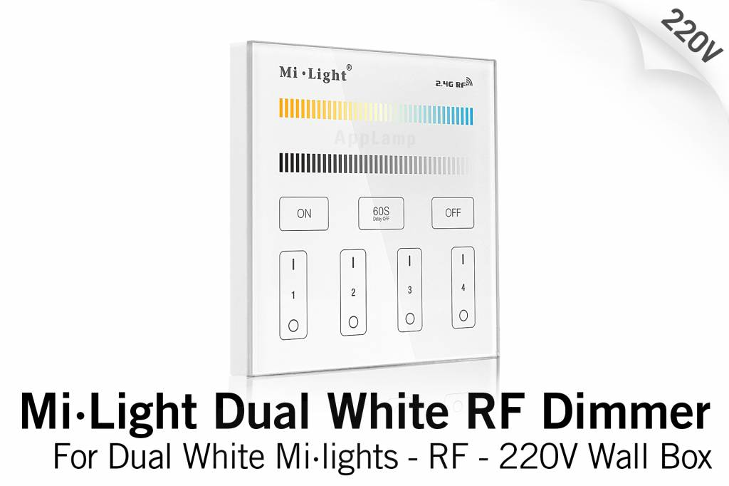 Mi·Light MiLight Inbouw Dual White RF Touch Dimmer Paneel 4-kanaals, 220V