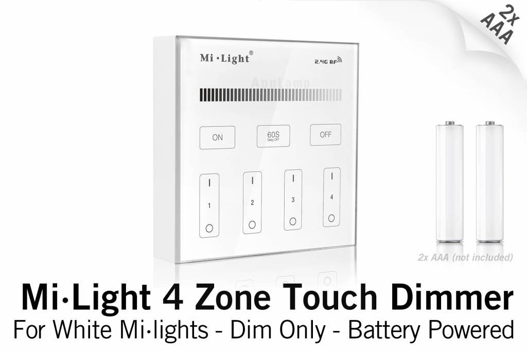 Mi·Light MiLight RF Opbouw Touch WandBediening Dimmer 4-zone, Enkele kleur, AAA
