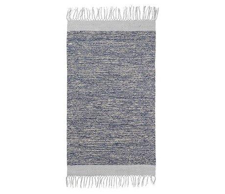 tapis melange coton bleu 60x100cm