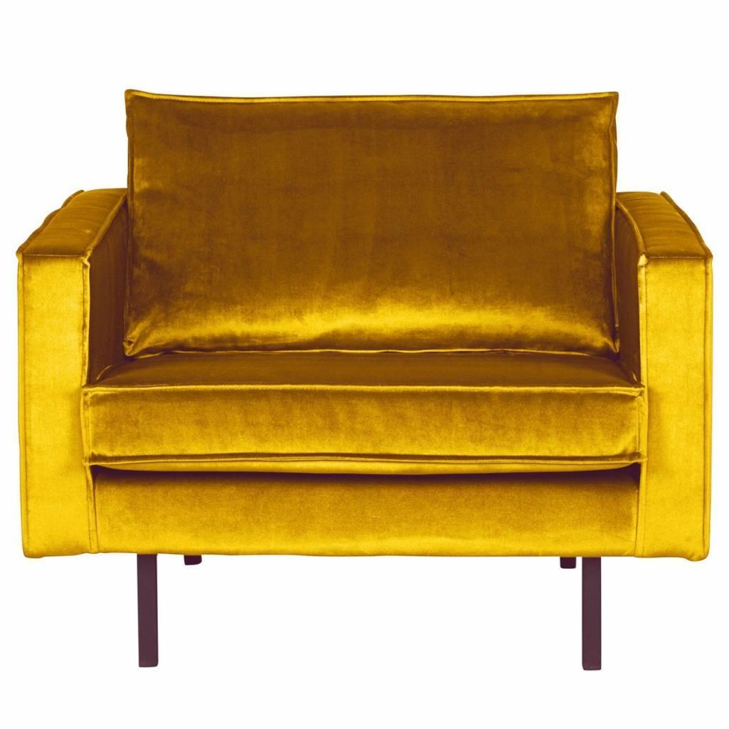 fauteuil rodeo ocre velours jaune 105x86x85cm