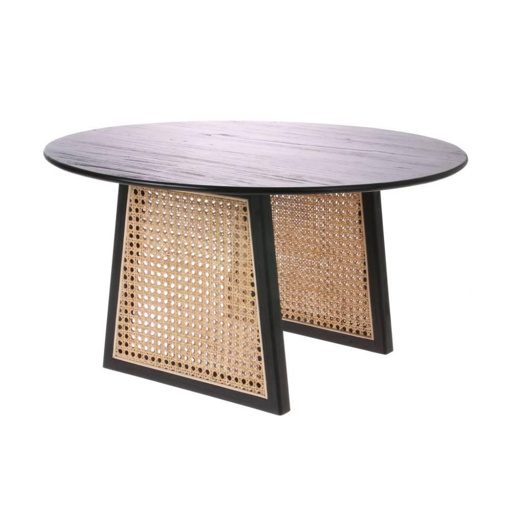 hk living table basse sangles en bois de rotin noir brun o65x35cm
