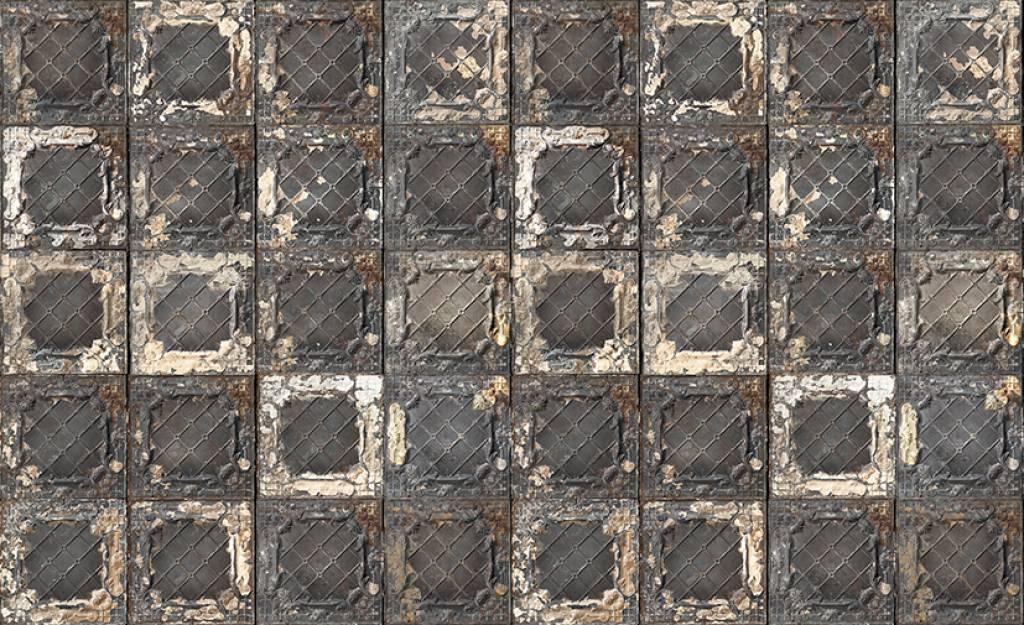 merci wallpaper brooklyn tins black white stainless tin 07