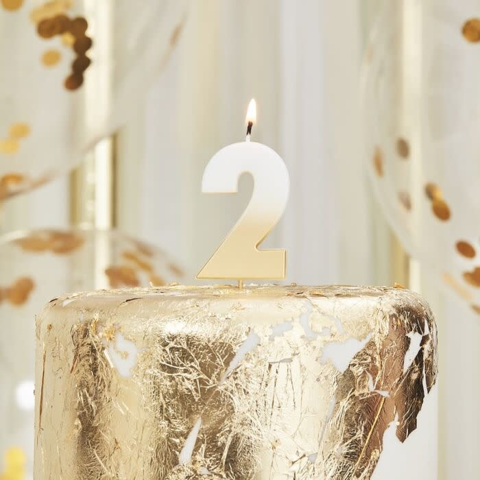 Gold Ombre 2 Number Birthday Candle Yay Nay