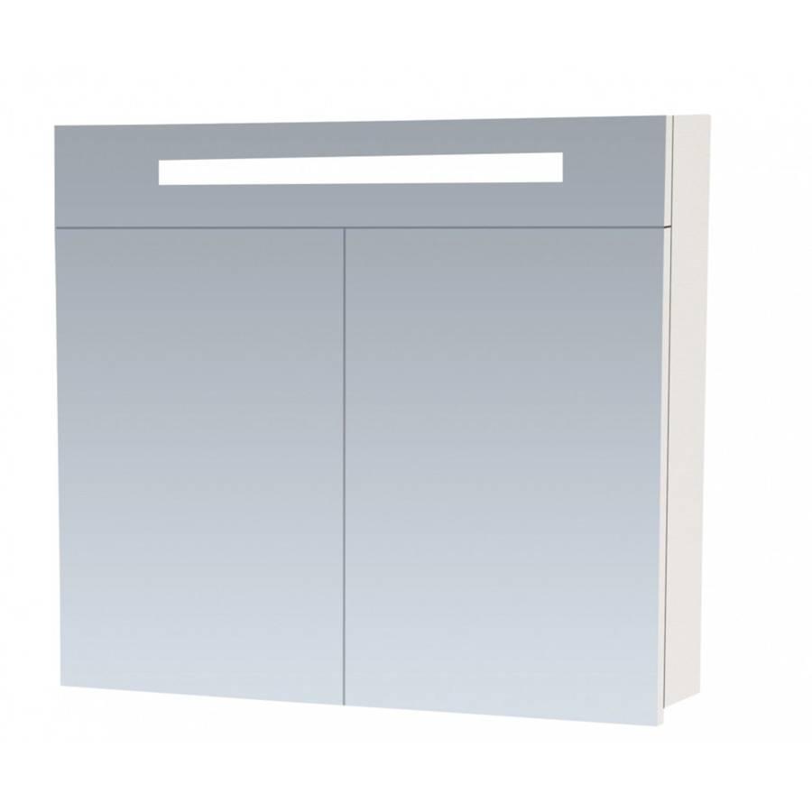 20 Spiegelkast Enkelzijdige Spiegel 80 Cm Hoogglans Wit 2 Deuren Led Verlichting