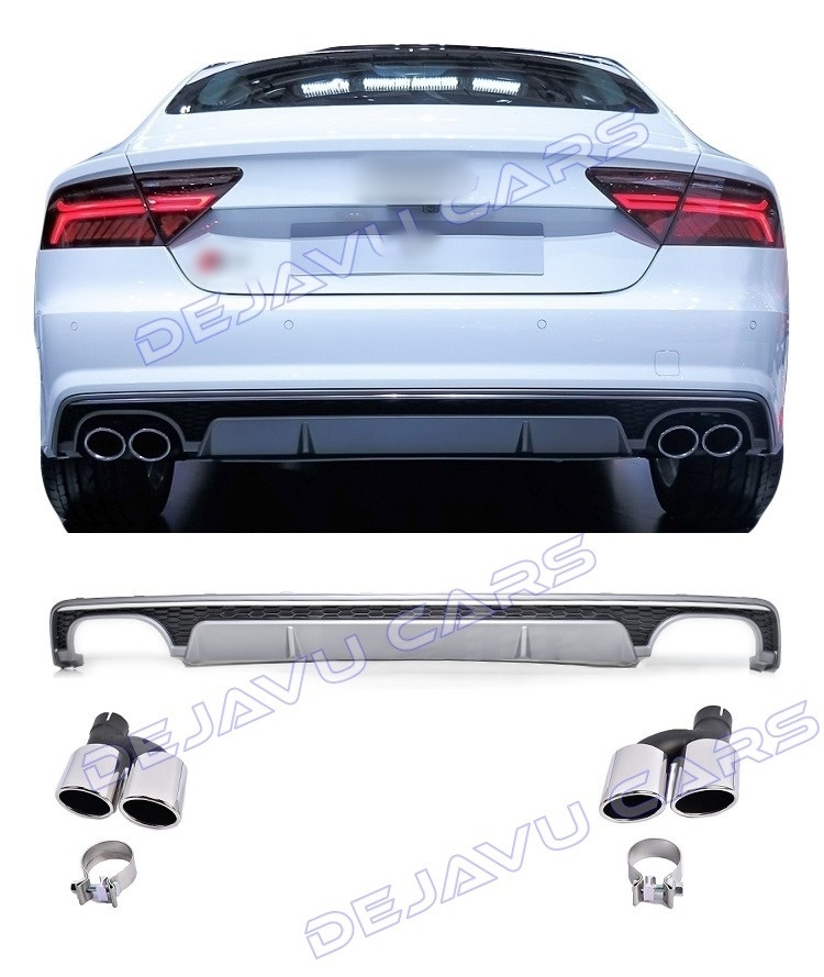s7 look diffuser exhaust tail pipes for audi a7 4g