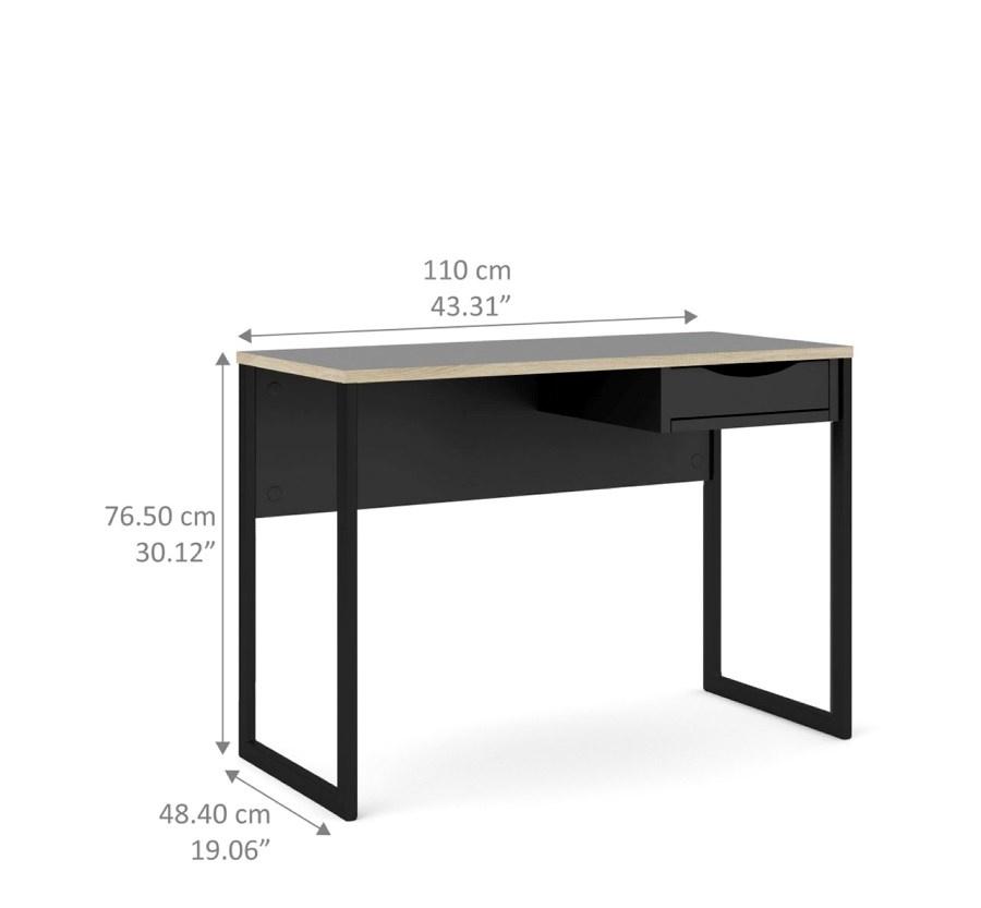 fula bureau 110 cm 1 lade zwart mat zwart