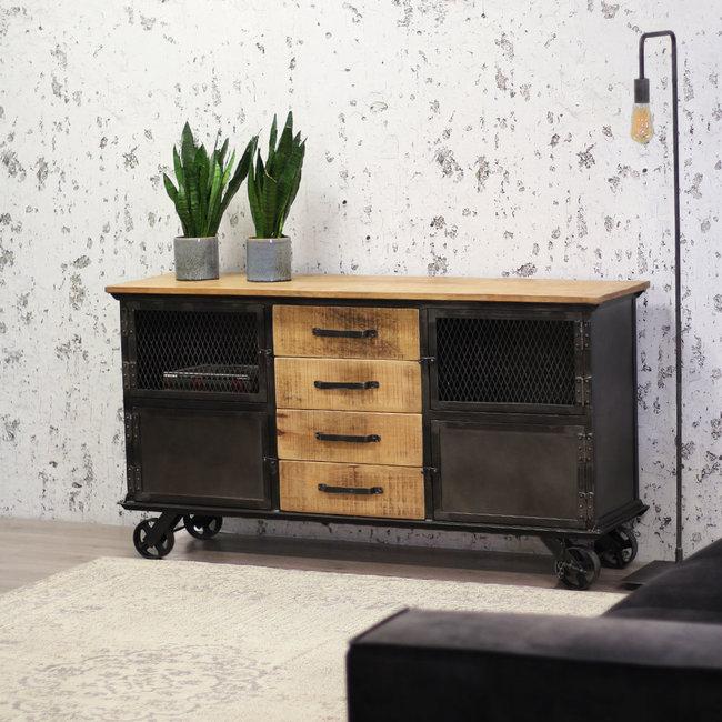 dimehouse bryce commode industrielle 153 x 40 x 80 cm bois massif