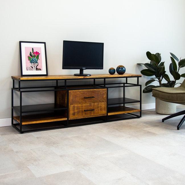 dimehouse pasadena meuble tv 160 x 40 x 57 cm industriel bois massif