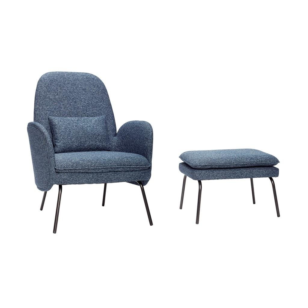 hubsch fauteuil avec repose pieds bleu