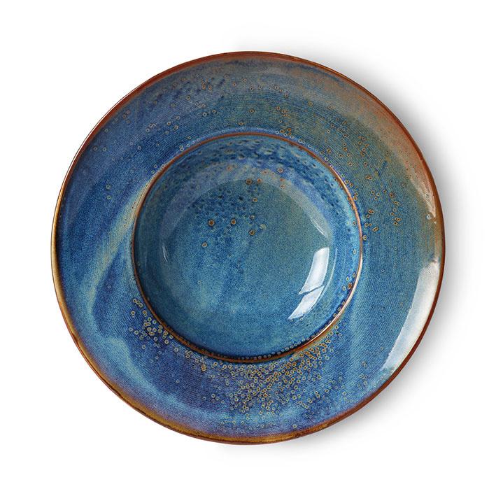 hkliving home chef assiette a pates en ceramique rustique bleu