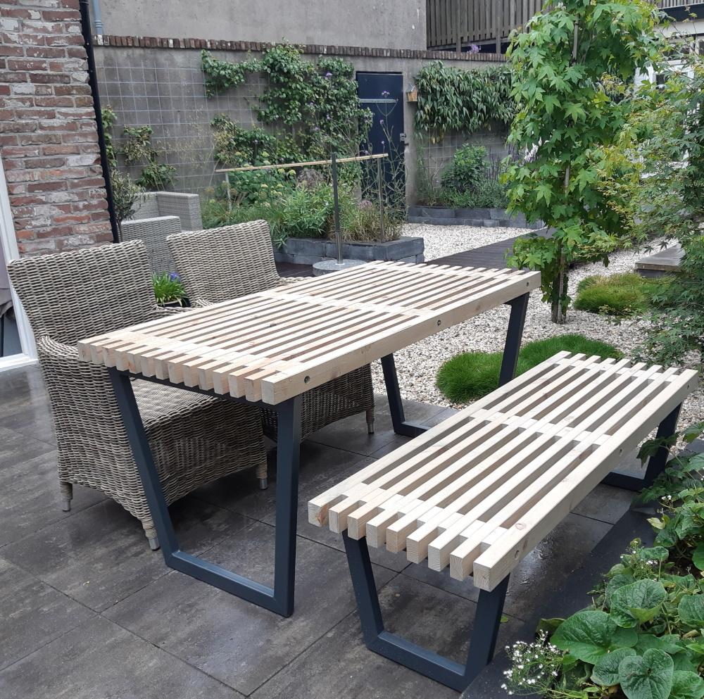 plus danemark siesta ensemble table et 2 bancs de jardin lasure bois flotte