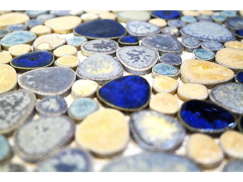 luxury tiles modesto ceramic mosaic tile pebble blue gold mix