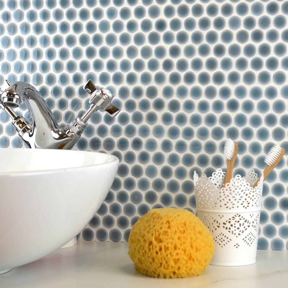 luxury tiles blue grey gloss circle mosaic tile