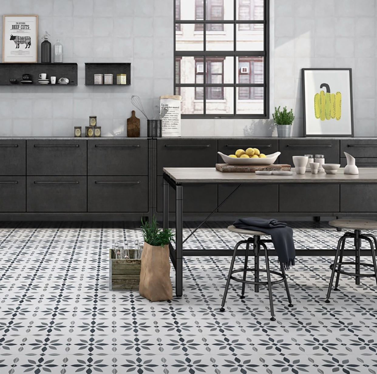 luxury tiles the modern flower pattern floor tile 223x223mm