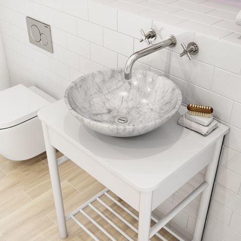 luxury tiles calacatta marble basin sink 43cm