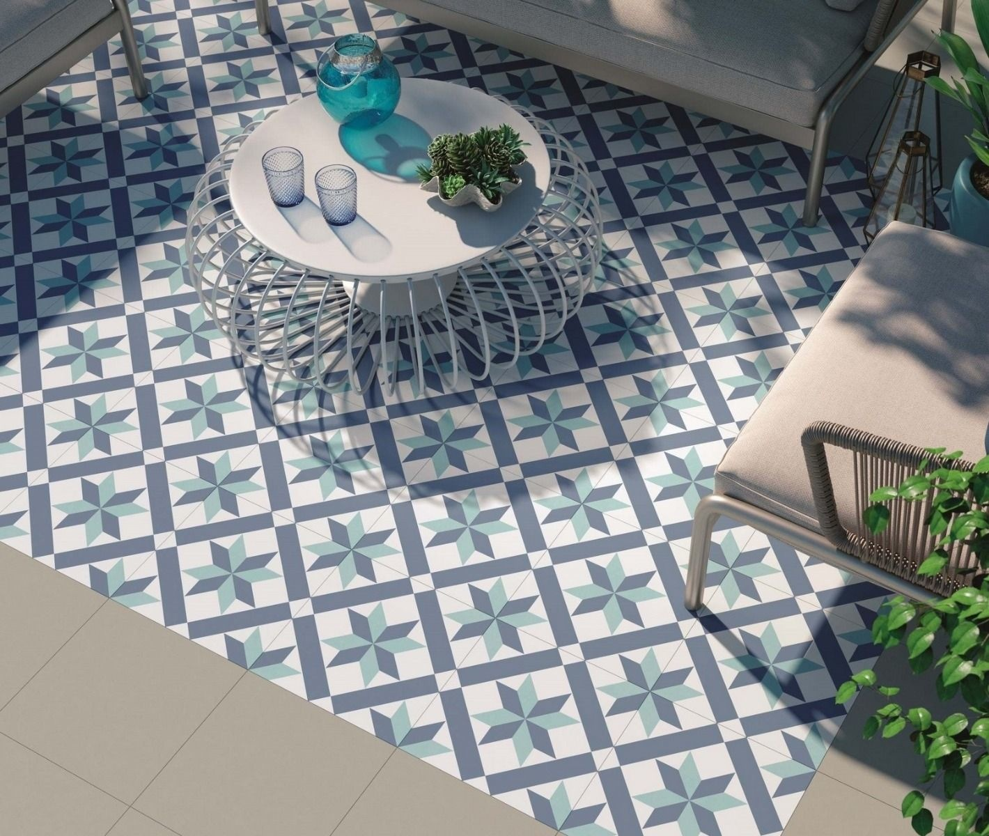 luxury tiles nordic blue pattern wall and floor tile 333x333mm