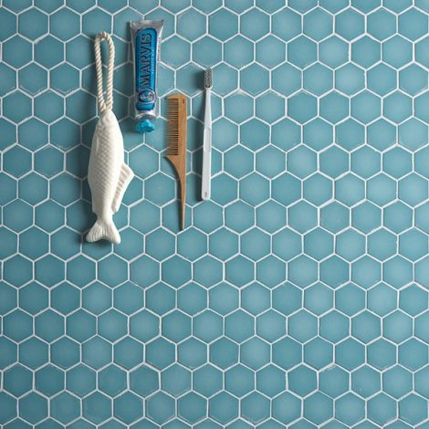 ca pietra brasserie hexagon mosaic turquoise glass wall and floor tile