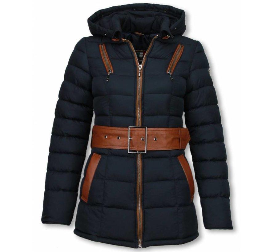 Dames Winterjas Halflang - Gestikt - Grote Gesp - Blauw
