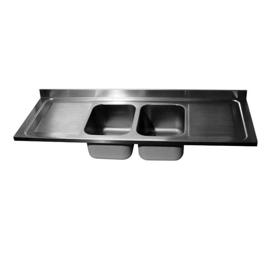 horecatraders tabletop stainless steel coil double sink middle 240x70x40 cm