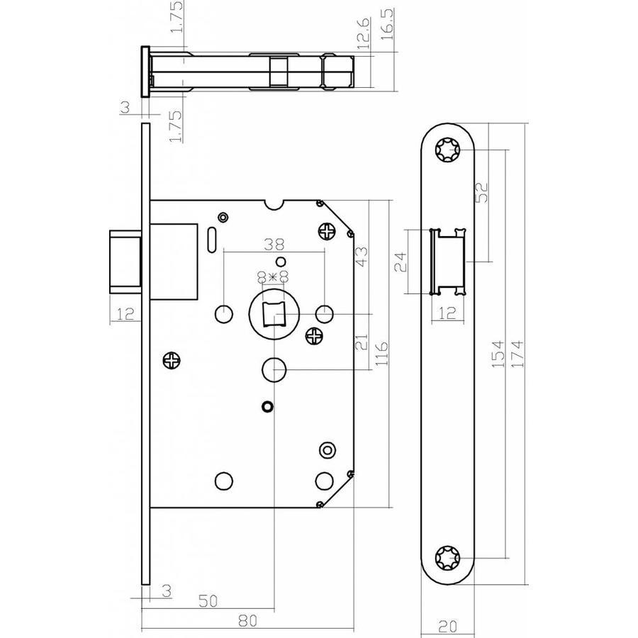 Schwarzes Schloss Ohne Schlussel Mit Fertiger Frontplatte Schwarz Lackiert 20x175 Dorn 50mm Inkl Verschlussplatte Deurklinkenshop
