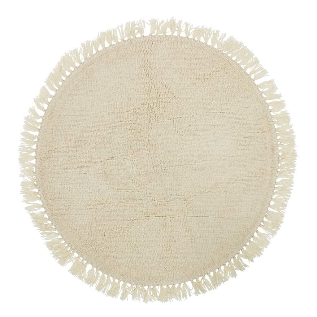 bloomingville tapis rond en laine nature o110cm bloomingville