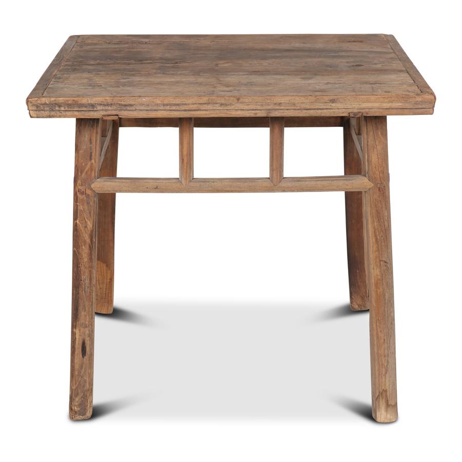 petite lily interiors table de salle a manger bois brut recycle 91x91x81cm