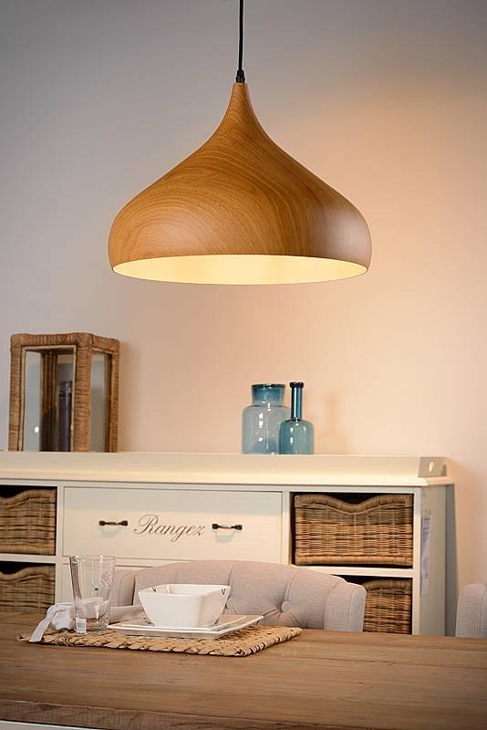lustre design couleur bois 42cm diametre e27