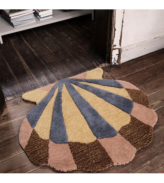 ferm living tapis housse murale shell en laine multicolore coton 70x79cm