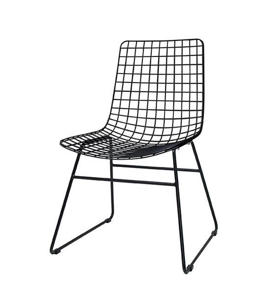 hk living chaise a manger metal noir 47x54x86cm fil