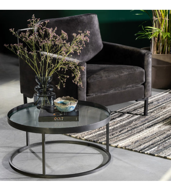 dutchbone table basse boli verre fer noir o70x30cm