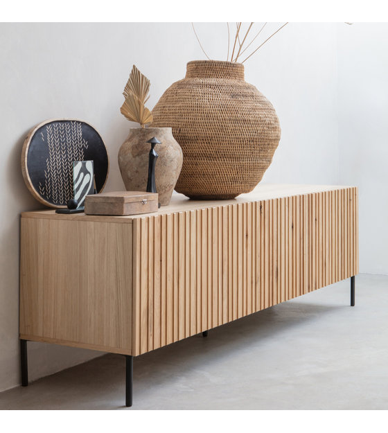 woood meuble tv gravure en bois naturel brun metal 56x180x46cm